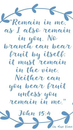 """""""Remain in me, as I also remain in you. No branch can bear fruit by itself; it must remain in the vine. Neither can you bear fruit unless you remain in me. I am the vine; you are the branches. If you remain in me and I in you, you will bear much fruit; apart from me you can do nothing."""""""