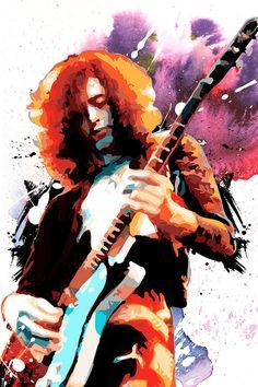 JIMMY PAGE Led Zeppelin, Rock and Roll, music art illustration, Poster size, Canvas art print available in 18x24 or 24x36.