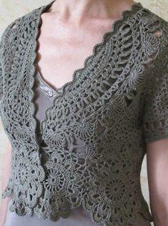 Crinochet: Black, Grey or White bolero, vest or short jacket