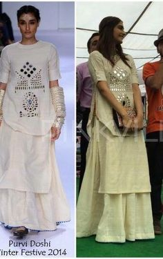 Hugh Indian Suits, Indian Dresses, Indian Wear, Kurta Designs, Blouse Designs, Indian Designer Outfits, Designer Dresses, Mirror Work Dress, Designs For Dresses
