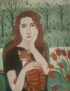 Girl with a ginger cat - Dee Nickerson - Southwold Gallery Art And Illustration, Illustrations, Cat Drawing, Painting & Drawing, Painting Abstract, Wow Art, Naive Art, Contemporary Artists, Art Forms