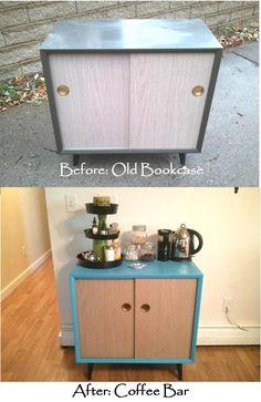Free bookcase turned coffee bar