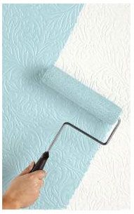 Paintable damask wallpaper. Pretty cool.