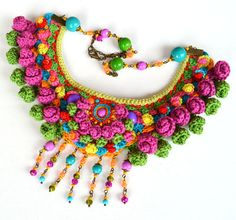 big bold chunky necklace mexican necklace colorful par Marmotescu