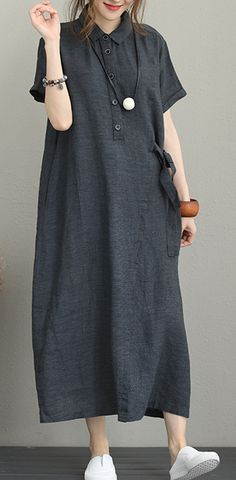 Fine dark gray linen dress trendy plus size turn-down collar linen clothing dresses Elegant short sleeve tie waist maxi dresses Muslim Fashion, Modest Fashion, Skirt Fashion, Fashion Outfits, Trendy Dresses, Elegant Dresses, Plus Size Sundress, Dress Outfits, Casual Outfits