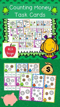 """My Money! Money! Task Card set includes 102 """"Clip It"""" style task cards, 90 traditional task cards, and 2 recording sheets. The task cards focus on counting pennies, nickels, dimes, quarters, $1 bills, $5 bills, $10 bills, and $20 bills. All task cards are accented with bright colors and monster graphics. #teacherspayteachers #tpt #math"""