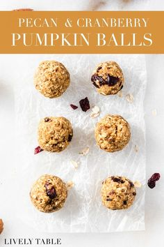 These healthy pumpkin balls with pecans and cranberries are the ultimate easy and healthy snack for fall that's great for meal prep and busy moms! If you enjoy a vegan lifestyle you'll love this gluten-free recipe!