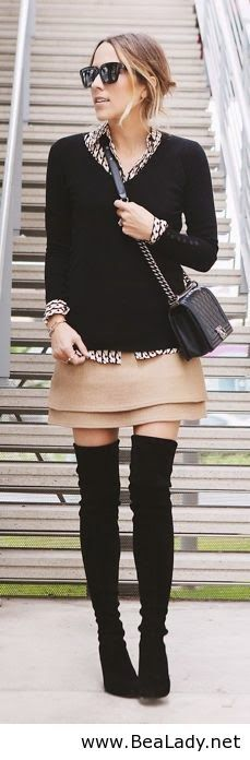 Beautiful outfit for work? For work? Thigh highs? It's like asking to be effed in the bathroom on break.