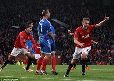 New hero: James Wilson celebrates breaking the deadlock for Manchester United against Hull