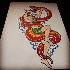 Mi sono dimenticato le unghie dei piedi  #girl #sketch #snake #red #tropical #neotraditional #pinup