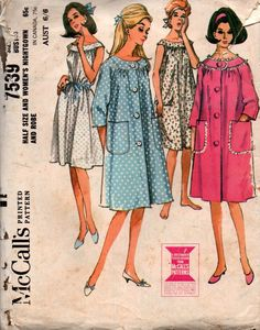 McCall's 7539 Womens 60s Nightgown and Robe Vintage Sewing Pattern Size 12 1/2 Bust 35 inches UNCUT Factory Folded