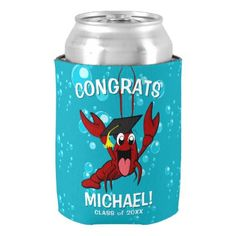 Graduation Crawfish Boil Lobster Seafood Party Can Cooler - college graduation gift idea cyo custom customize personalize special Graduation Party Supplies, College Graduation Gifts, Seafood Party, Lobster Party, Seafood Broil, Seafood Risotto, Hand Warmers, Party Favors, Canning