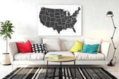 United states map Large Watercolor map USA map print United states home decor USA map poster United states poster Map art us map 24x36 20x30 by Kompostela on Etsy