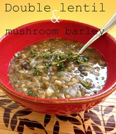 Double Lentil and Mushroom Barley Soup from cadry's kitchen