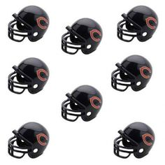 Chicago Bears NFL Helmet Party Kit www.teeliesfairygarden.com Let your fairies enjoy a football game with this helmet party kit! This set includes 16 helmets of the Chicago Bears enough for all of your fairies and gnomes. #fairyhelmets