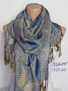 Hey, I found this really awesome Etsy listing at https://www.etsy.com/listing/123233519/blue-and-beige-pashmina-scarf-oversize