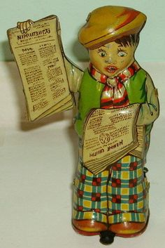 1930's German tin-plate clockwork toy Newspaper Boy Tipp  Co?