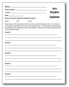 Creating a Substitute Teacher Folder for Your Art Room | The Art of Ed  Great idea! Doing this!!