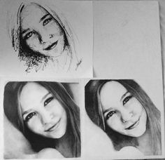Different styles of drawing. Realistic. pointillism. Fast drawing. Girl