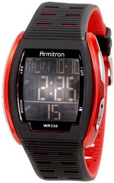 Armitron Men%27s 40%2F8239RED Red Accented Rectangular Shaped Digital Watch