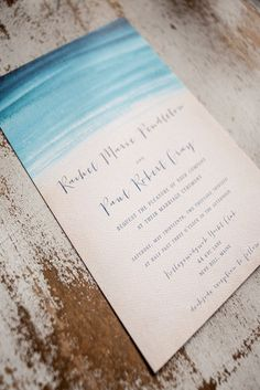 Blue painted invitation. Perfect for a beach wedding. Source: etsy.com #invitations #blue #beachwedding