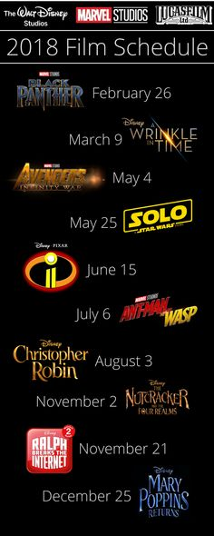 Get the full film schedule of films coming from Walt Disney Studios, Marvel Studios and Lucasfilm in 2018!