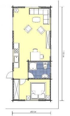 Studio Apartment Floor Plans, Studio Apartment Design, Apartment Layout, Cabin Floor Plans, House Plans, Bungalow, Saint Claude, Small Modern Home, New Builds