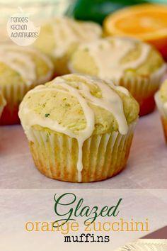 Glazed Orange Zucchini Muffins - Very yummy and super moist. Not like a traditional crumbly muffin. Köstliche Desserts, Delicious Desserts, Dessert Recipes, Yummy Food, Zucchini Desserts, Zucchini Muffins, Orange Zucchini Bread Recipe, Zucchini Cupcakes, Zuchinni Recipes