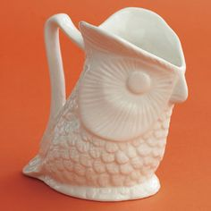 """Owl Pitcher  Add a touch of whimsy to your home with this fun white ceramic owl pitcher.  31/4"""" x 51/4"""" x 51/2""""  Price: $15.00  zhush"""