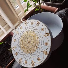 Gold on white box 😄 direct message or email me for orders Bridal Mehndi Designs, Henna Designs, Henna Canvas, Henna Paint, Wedding Plates, White Box, Plate Design, Dot Painting, Mandala Art