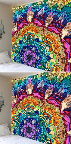 fall decor ideas:Bohemian Mandala Floral Wall Hanging Tapestry