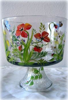 English country garden on glass.