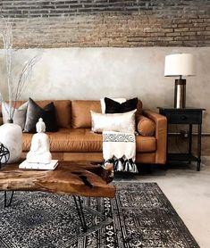 Sven Charme Tan Sofa - home sweet home - - Boho Living Room, Living Room Sofa, Apartment Living, Home And Living, Brown Leather Couch Living Room, Brown Sofa, Natural Living Rooms, Modern Living Room Designs, Modern Living Room Furniture