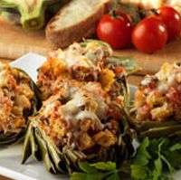 Olive Garden's baked stuffed artichokes with Foccacia recipe combines the savory goodness of artichoke hearts with a dense, herb-crusted bread. See recipe here: http://www.copycatrecipeguide.com/How_to_Make_Olive_Garden_Baked_Stuffed_Artichokes_with_Foccacia