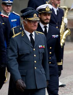 King Carl XVI Gustaf of Sweden & Prince Carl Philip attend the birthday ceremony of King Carl XVI Gustaf of Sweden at the Royal Palace, 30.04.2014 in Stockholm, Sweden.