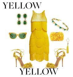"""Yellow"" by vivian-rose-turner on Polyvore featuring Naeem Khan, Aquazzura, Corto Moltedo, FOSSIL, Allurez and Tory Burch"