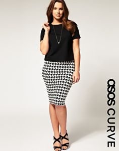 ASOS CURVE Pencil Skirt in Dog Tooth #fatshion