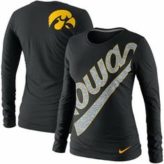 Nike Iowa Hawkeyes Ladies Angled Script Long Sleeve Tri-Blend T-Shirt - Black
