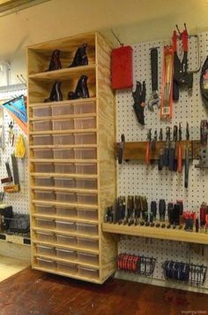 Shop storage ideas creative hacks tips for garage storage and organizations wood shop organization garage workshop . Garage Organization Tips, Diy Garage Storage, Workshop Organization, Storage Hacks, Shed Storage, Organizing Ideas, Garage Shelving, Lego Storage, Storage Bin Organization