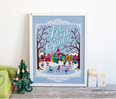 Let it snow, let it snow, let it snow! A perfect little project to get you in the mood for winter fun! Its all whole stitches apart from a teenie bit of backstitch for the sledge so perfect for beginners and hardened pros alike. The design measures 99 stitches wide x 140 stitches high,