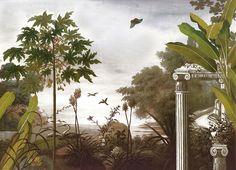 Paysages sépia - Le jardin au papillon sépia L350xH253 - ultra mat - 4 lés de 87,5cm