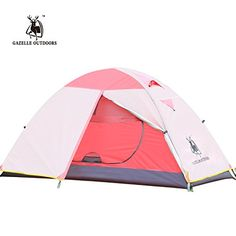 Gazelle Outdoors 1 Person 3 Season Double Layer Backpacking Tent Waterproof Aluminum Rod for Outdoor Camping Hiking Travel Pink * Want additional info? Click on the image.