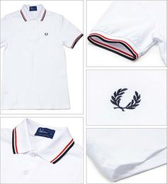 Fred Perry Classic Fit Twin Tipped Polo Shirt- WHITE/BRIGHT RED/NAVY Polo Tee Shirts, Polo Shirt White, T Shirt, 2000s Fashion, Mens Fashion, Fred Perry Polo, Fashion Design Drawings, Men Clothes, Shirt Outfit