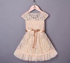 Cream lace country chic dress  2T-6T #TinyFabulousBoutique