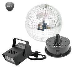 LED Spiegelkugelset besteht aus Spiegelkugel 20cm, Motor für Spiegelkugel LED FC & Disco Strobe 50 .