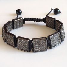 Gun metal square flat links wit rhinestones adjustable bracelet with ... Lot 926