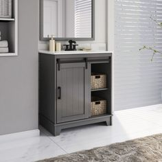 The Cheapest Way To Earn Your Free Ticket To Sliding Door Bathroom Cabinet - Schlesinger Sliding Barn Door Single Bathroom Vanity Set Vanity Set, Vanity Ideas, Vanity Drawers, Gray Vanity, Single Bathroom Vanity, Bathroom Vanities, Bathroom Ideas, Bathroom Cabinets, Bathroom Shelves