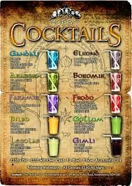LotR cocktails at a place called the hobbit pub in the UK :D Party Drinks, Cocktail Drinks, Fun Drinks, Yummy Drinks, Alcoholic Drinks, Beverages, Virgin Cocktails, Hobbit Party, Peach Schnapps