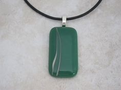 Green Glass Pendant with strings of White (3076)