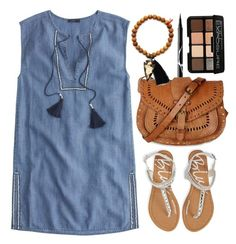 """""""J.Crew Sleeveless Chambray Tassel Beach Tunic"""" by thestyleartisan ❤ liked on Polyvore"""